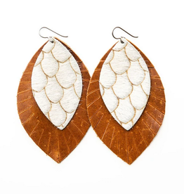 Keva Style Leather Earring Taupe Cream 4""