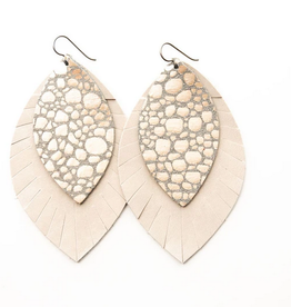 Keva Style Leather Earring Pebble Cream 4""