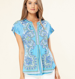 Hale Bob S/S V Neck Top Turquoise