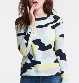 Lisa Todd Summer Camo Knit Top Navy Combo