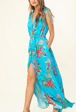 Hale Bob Tie Shoulder Maxi Dress Turquoise