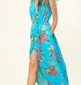 Hale Bob Tie Shoulder Maxi Dress Turquoise