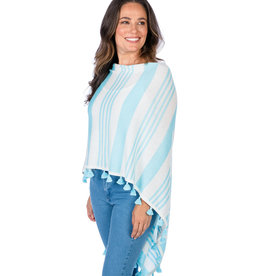 Caroline Grace Cotton Cashmere Topper Stripe Aqua
