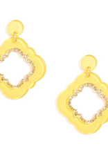 Jewelry Quatrefoil Drop Earrings Yellow