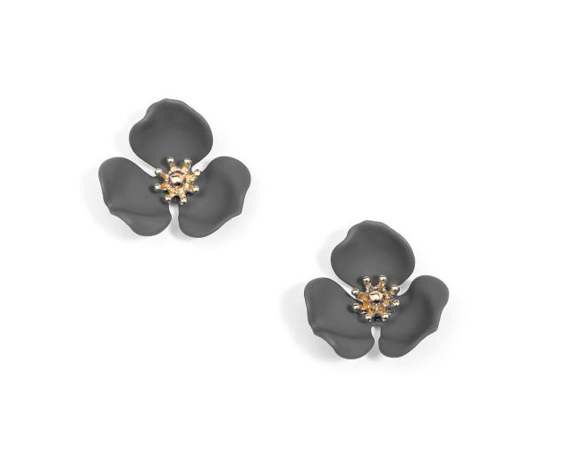 Jewelry Blooming Lotus Earring Dark Gray