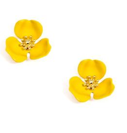 Jewelry Blooming Lotus Earrings Yellow
