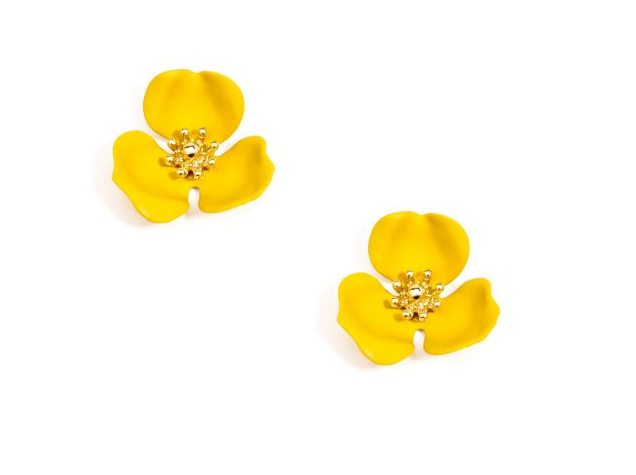 Jewelry Blooming Lotus Earrings Yellow