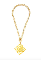 Jewelry Flower Resin Pendant Necklace Yellow