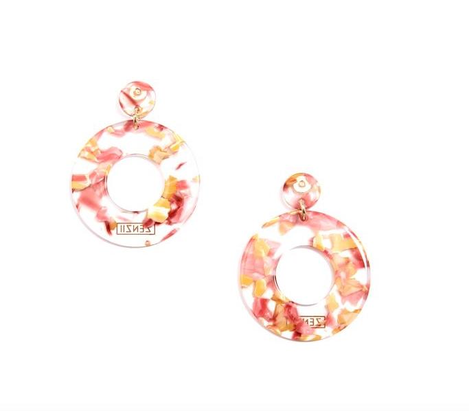 Jewelry Chunky Hoop Earrings Pink