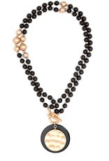 Jewelry Resin and Matte Coin Beaded Necklace