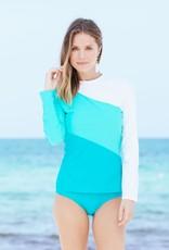 Cabana Life Color Block Rashguard Turquoise