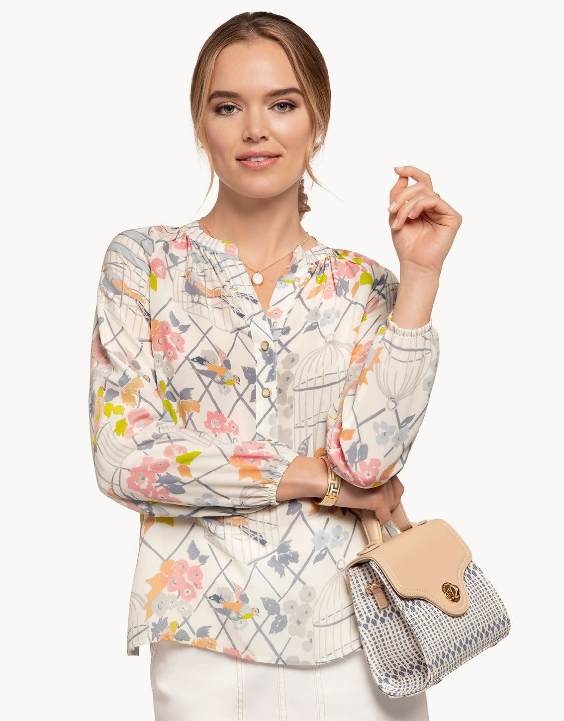 Spartina Cora Silk Blouse Songbird Multi