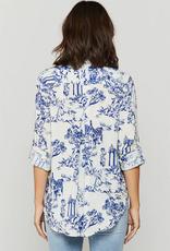 Velvet Heart Elisa Blue Cottage Toile Button-Up Shirt
