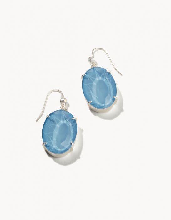 Spartina Mermaid Glass Oval Earrings Sky Blue