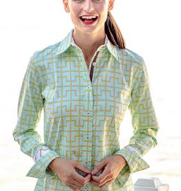 Dizzy Lizzie Rome Shirt Mint Bamboo Cuff
