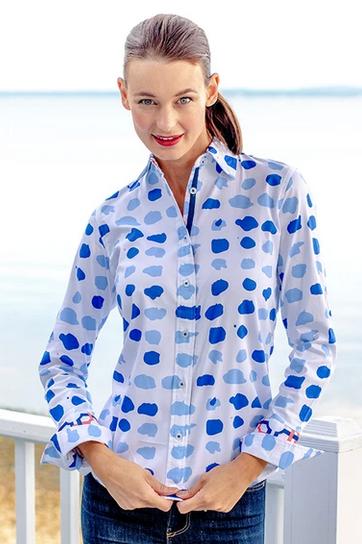 Dizzy Lizzie Rome Shirt Spots Blue