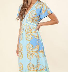 Hale Bob Short Sleeve Dress Blue