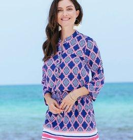 Cabana Life Navy Geo Button Dress