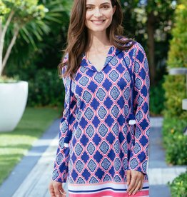Cabana Life Navy Geo Hooded Cover Up