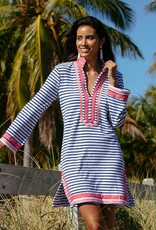 Cabana Life Navy Stripe Terry Tunic Cover Up Navy Pink
