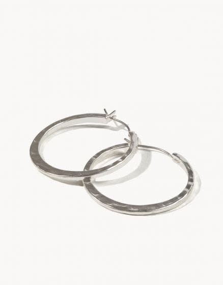 Spartina Textured Hoop Earrings Silver