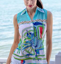 Dizzy Lizzie Sleeveless Vero Shirt Turq Hermes