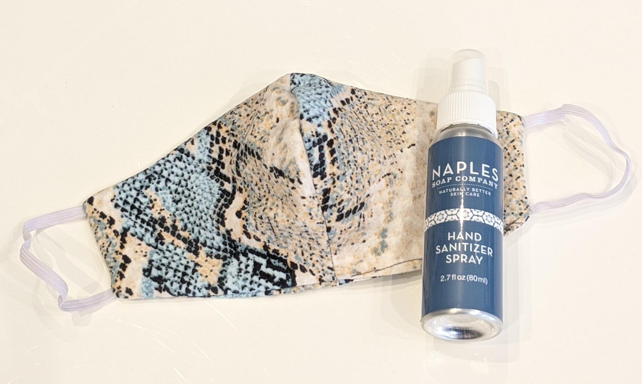 Face Mask Hand Sanitizer Spray Set Aqua Python