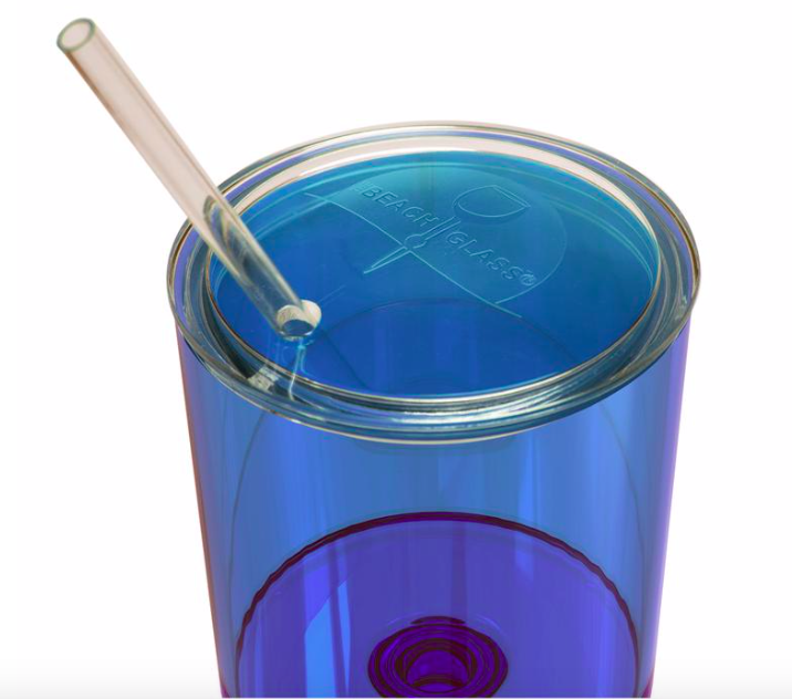 Beach Glass Caribbean Collection Lid & Straw