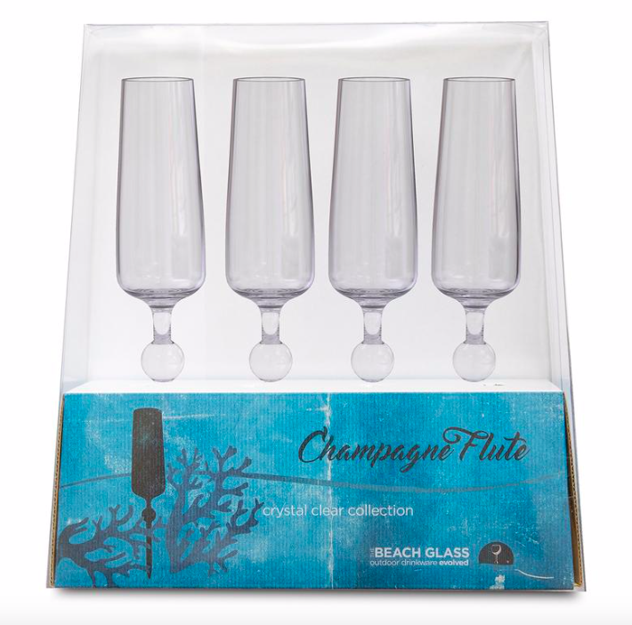 Beach Glass Champagne Flutes Clear 4 Pack