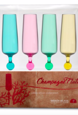 Beach Glass Champagne Flutes Color 4 Pack