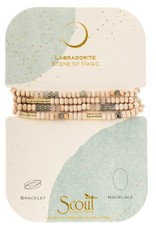 Scout Curated Wears Wood, Stone & Metal Wrap Bracelet/Necklace Labradorite/Gold