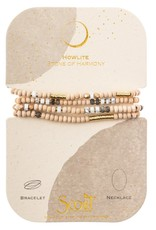 Scout Curated Wears Wood, Stone & Metal Wrap Bracelet/Necklace - Howlite/Gold