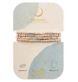 Scout Curated Wears Wood, Stone & Metal Wrap Bracelet/Necklace - Rose Quartz/Silver