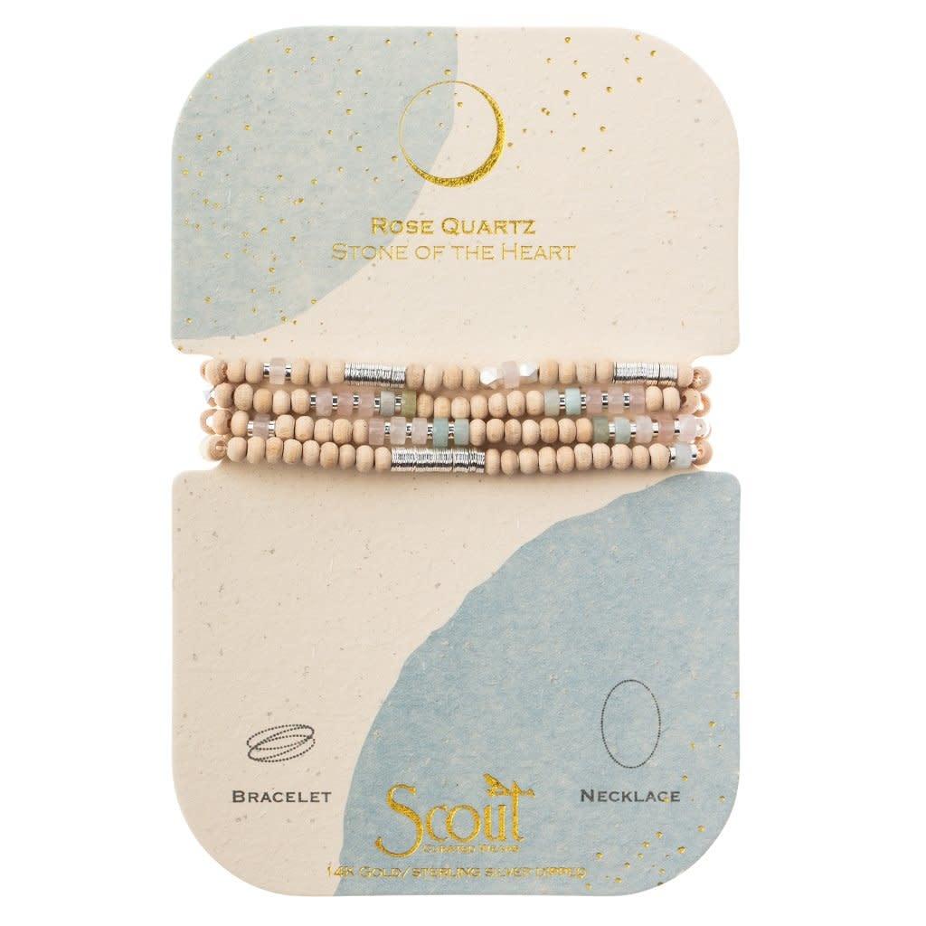 Scout Curated Wears Wood, Stone & Metal Wrap Bracelet/Necklace - Rose Quartz/Silver