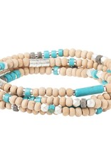 Scout Curated Wears Wood, Stone & Metal Wrap Bracelet/Necklace - Turquoise/Silver