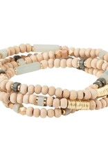Scout Curated Wears Wood, Stone & Metal Wrap Bracelet/Necklace - Amazonite/Gold