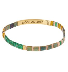 Scout Curated Wears Good Karma Miyuki Bracelet | Good as Gold - Forest/Blush/Gold