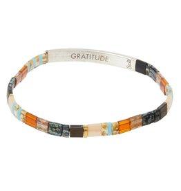 Scout Curated Wears Good Karma Miyuki Bracelet | Gratitude - Earth/Sky/Silver