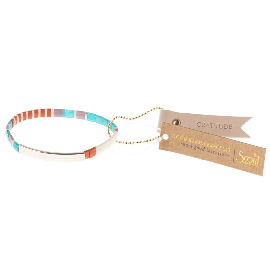 Scout Curated Wears Good Karma Miyuki Bracelet | Gratitude - Turquoise/Orange/Silver