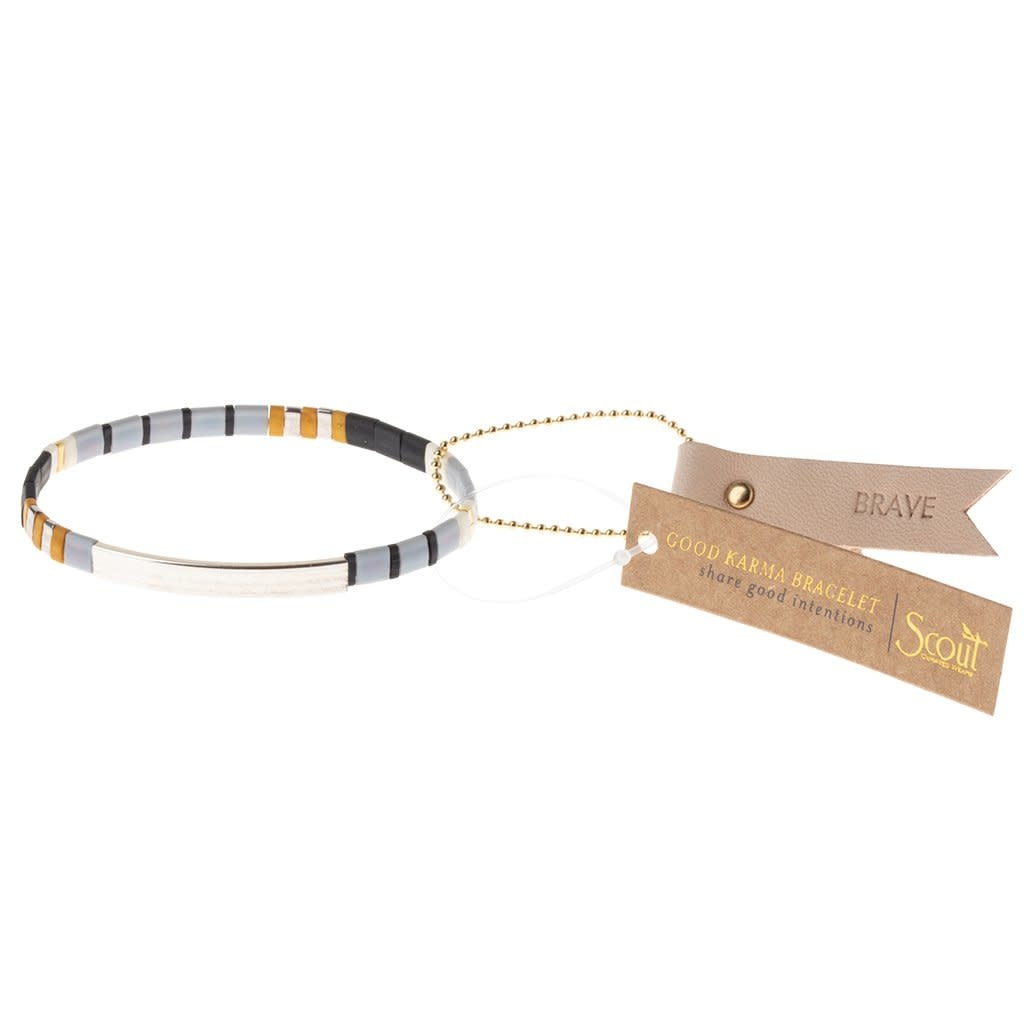 Scout Curated Wears Good Karma Miyuki Bracelet | Brave - Gray/Black/Silver