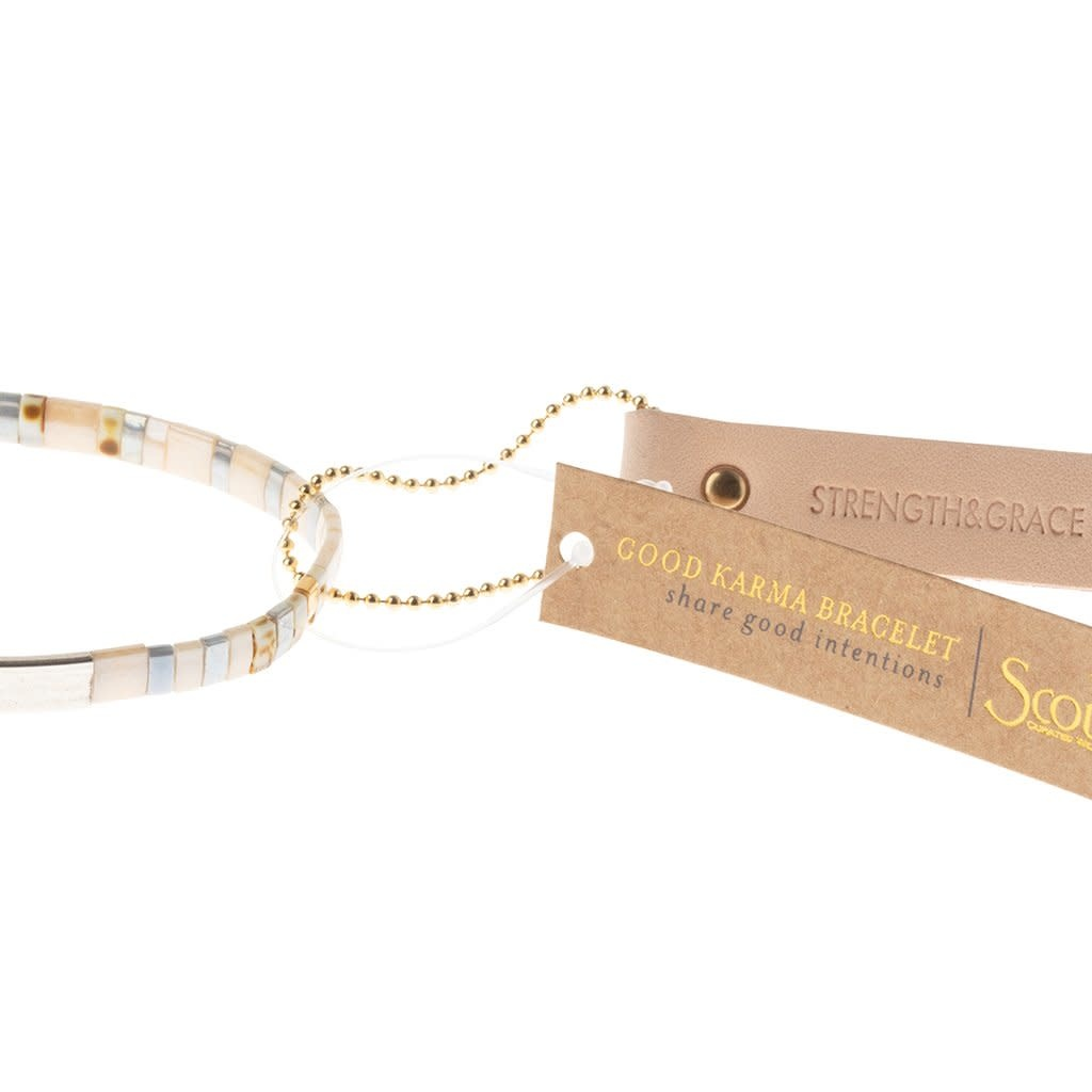 Scout Curated Wears Good Karma Miyuki Bracelet | Strength & Grace - Ivory/Silver