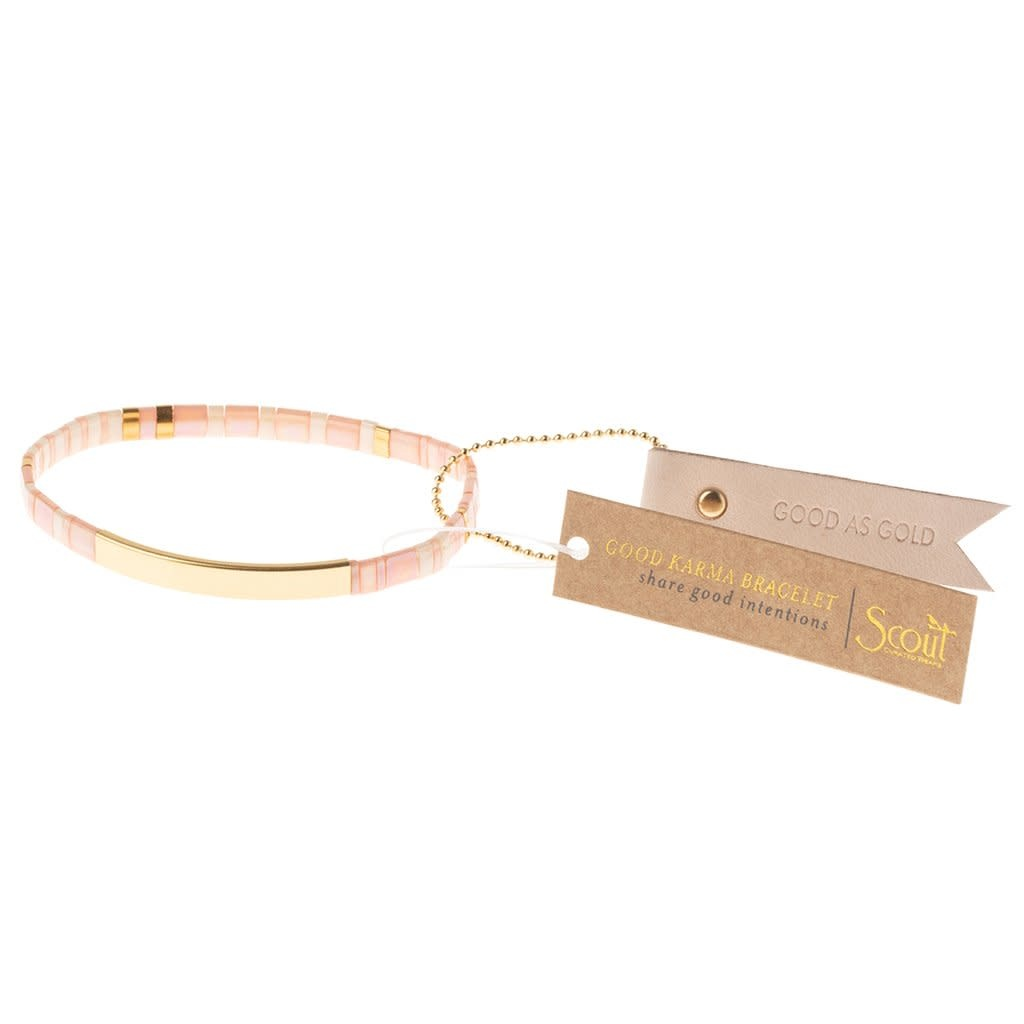 Scout Curated Wears Good Karma Miyuki Bracelet | Good As Gold - Blush/Gold