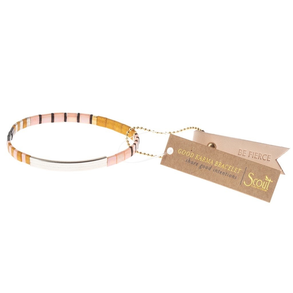 Scout Curated Wears Good Karma Miyuki Bracelet | Be Fierce - Pink/Mustard/Silver