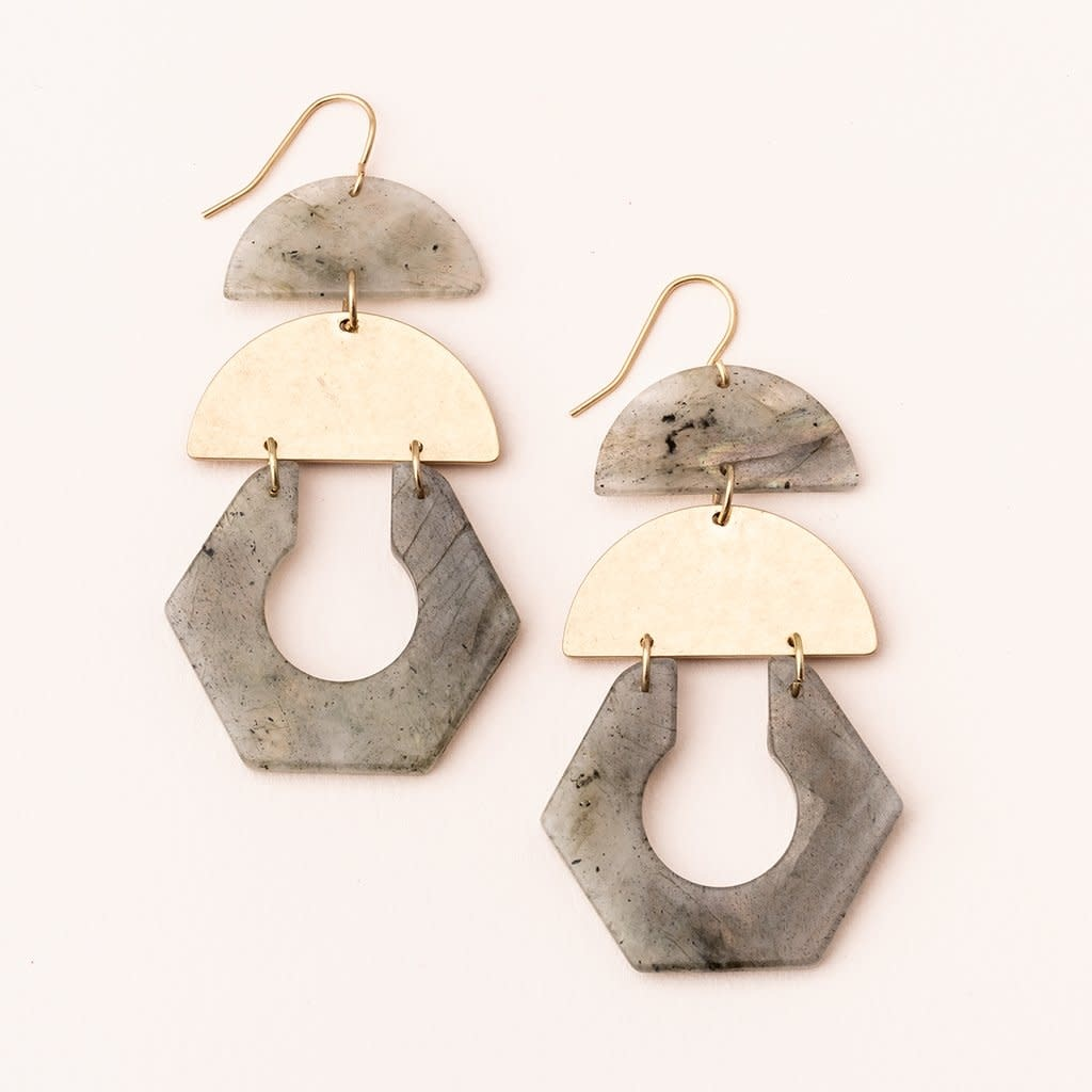 Scout Curated Wears Stone Cutout Earring - Labradorite/Gold