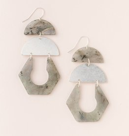 Scout Curated Wears Stone Cutout Earring - Labradorite/Silver
