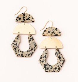 Scout Curated Wears Stone Cutout Earring - Dalmatian Jasper/Gold