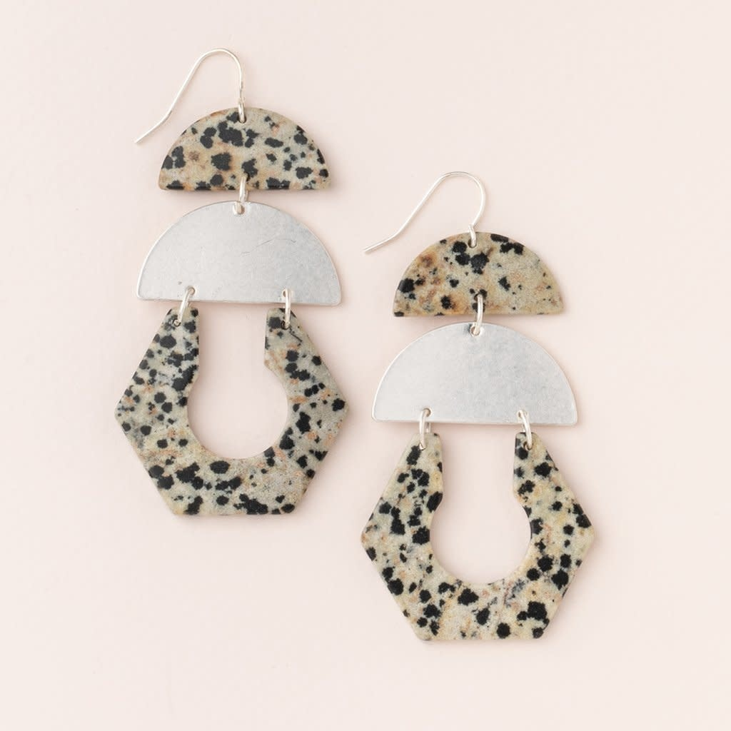 Scout Curated Wears Stone Cutout Earring - Dalmatian Jasper/Silver