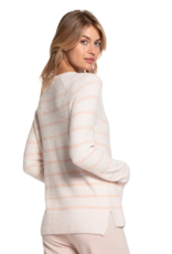 Barefoot Dreams Striped Raglan Pullover Pink