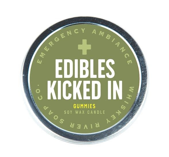 Whiskey River Edibles Kicked In Emergency Travel Tin Candle