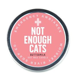 Whiskey River Not Enough Cats Emergency Travel Tin Candle